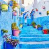 Morocco street blue stairs