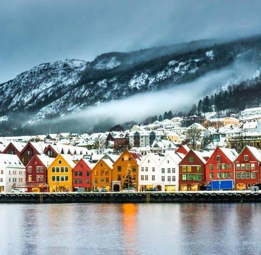 Scandinavia village snow mountains
