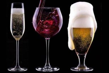 glasses of wine, beer and spirits