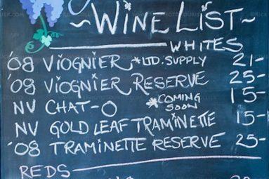 carte des vins du restaurant à bord